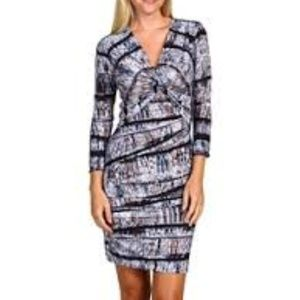 BCBGMaxAzria Ray Knot Front Ruch Jersey Dress M